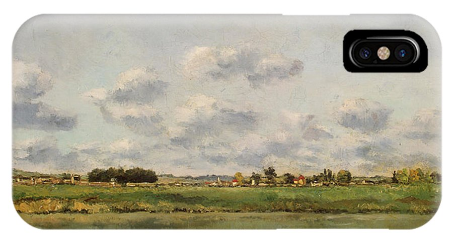 Barbizon School IPhone X Case featuring the painting Banks Of The Loing by Charles-Francois Daubigny