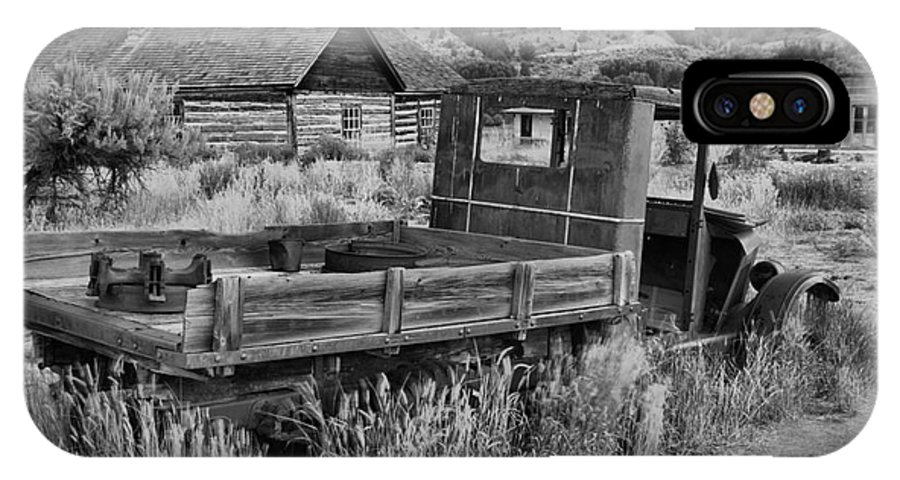 Bannack IPhone X Case featuring the photograph Bannack Extended Parking Black And White by Adam Jewell