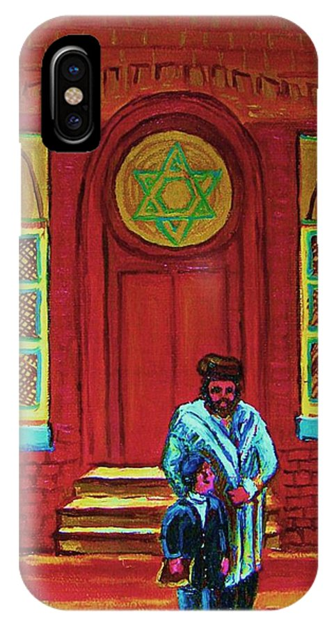 Synagogues IPhone X Case featuring the painting Bar Mitzvah Lesson At The Synagogue by Carole Spandau