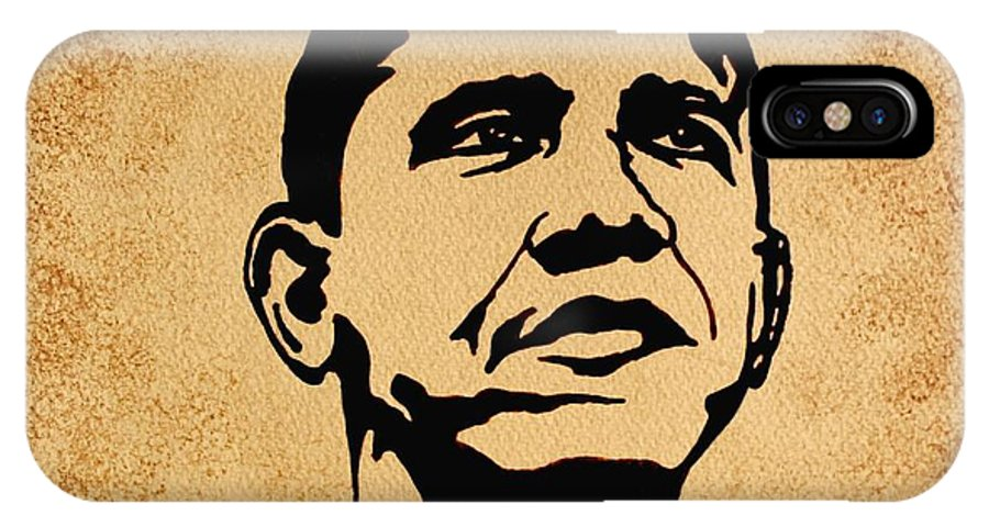 Barack Obama Coffee Painting Pop Art IPhone X Case featuring the painting Barack Obama Original Coffee Painting by Georgeta Blanaru