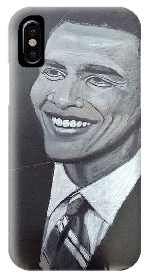 People IPhone X Case featuring the painting Barack Obama by Richard Le Page