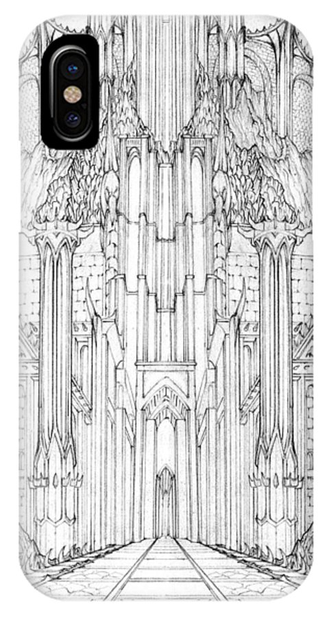 Barad-dur IPhone X Case featuring the drawing Barad-dur Gate Study by Curtiss Shaffer