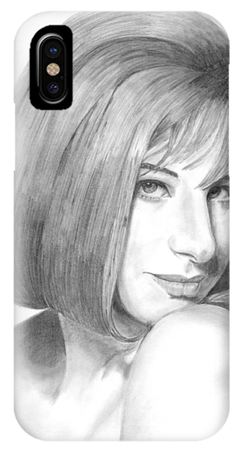 Singer IPhone X Case featuring the drawing Barbra Streisand by Rob De Vries