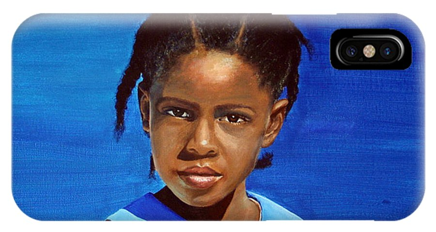 Portrait IPhone X / XS Case featuring the painting Barbuda School Girl by Fiona Jack