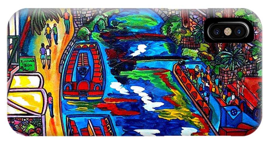 Riverwalk IPhone X Case featuring the painting Barges On The Riverwalk by Patti Schermerhorn