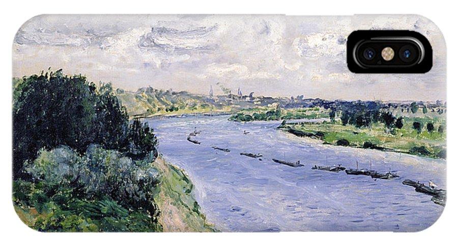 Chalands Sur La Seine; River; Barge; Boat; Impressionist; Landscape; Convoy; Cloudy Sky; Barge; Chaland IPhone X Case featuring the painting Barges On The Seine by Pierre Auguste Renoir