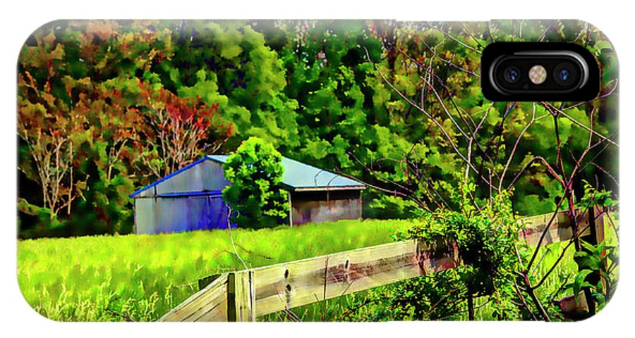 Landscape IPhone X / XS Case featuring the photograph Barn And Fence In Tall Grass by Doug Berry