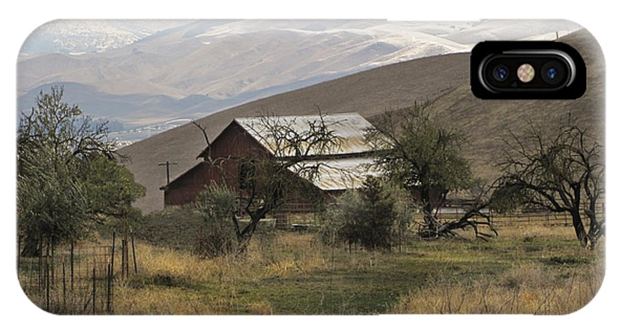 Barn IPhone X Case featuring the photograph Barn And Snow by Karen W Meyer
