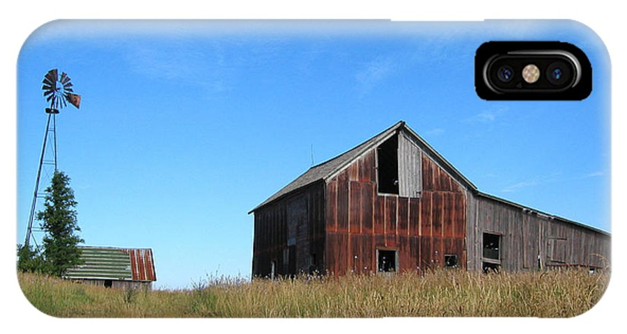 Barn IPhone X Case featuring the photograph Barn and Windmill by Dylan Punke