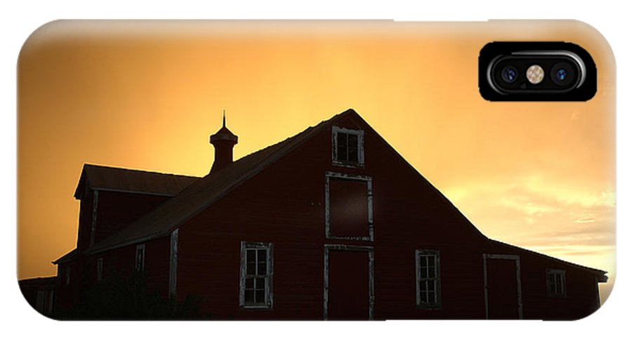 Barn IPhone X Case featuring the photograph Barn At Sunset by Jerry McElroy