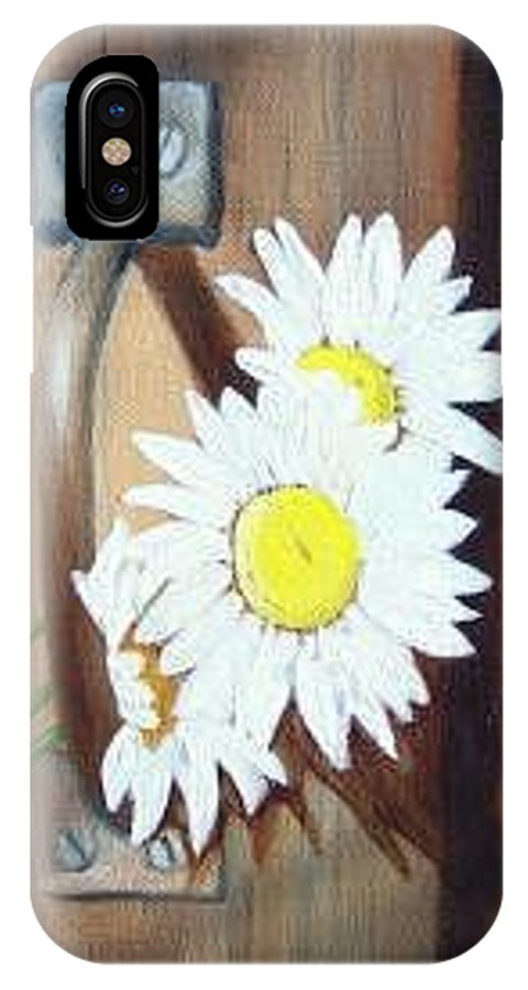 Rustic Barn Door With Metal Latch And Three White Daisies IPhone X / XS Case featuring the painting Barn Door Daisies Sold by Susan Dehlinger