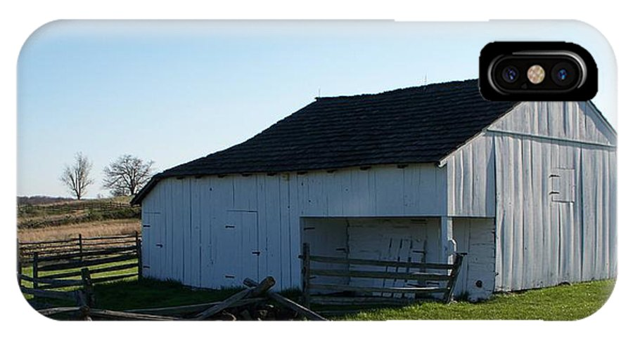 Barn IPhone X Case featuring the painting Barn Gettysburg Battle Field by Eric Schiabor