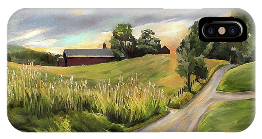 West Newbury Vermont IPhone X Case featuring the painting Barn On The Ridge In West Newbury Vermont by Nancy Griswold