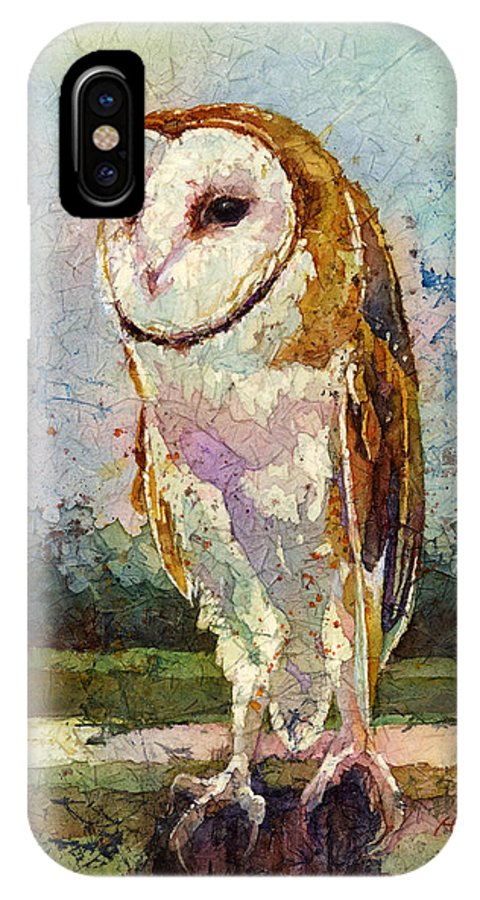 Owl IPhone X Case featuring the painting Barn Owl by Hailey E Herrera