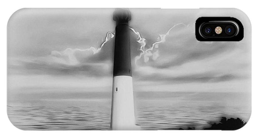 Barnegat Lighthouse In Black And White IPhone X Case featuring the photograph Barnegat Lighthouse In Black And White by Bill Cannon