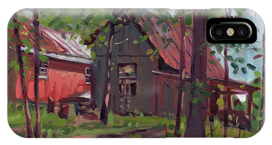 Barn IPhone X Case featuring the painting Barns In April by Donald Maier