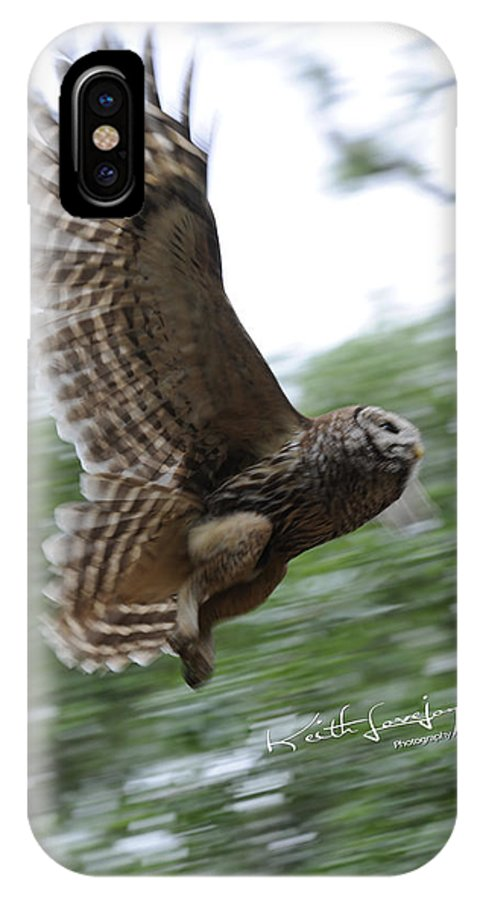 Owl IPhone X Case featuring the photograph Barred Owl Taking Flight by Keith Lovejoy