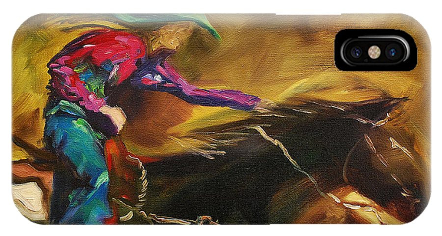 Western Art IPhone Case featuring the painting Barrel Racer by Diane Whitehead