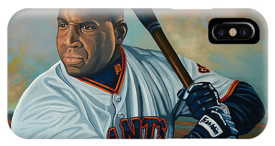 Barry Bonds IPhone X Case featuring the painting Barry Bonds by Paul Meijering
