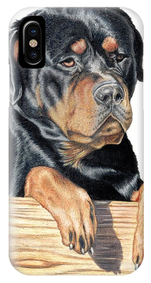 Dog IPhone X Case featuring the drawing Bart by Kristen Wesch
