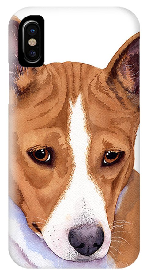 Dogs IPhone X / XS Case featuring the painting Basenji Sweetness Watercolor by Michele Angel