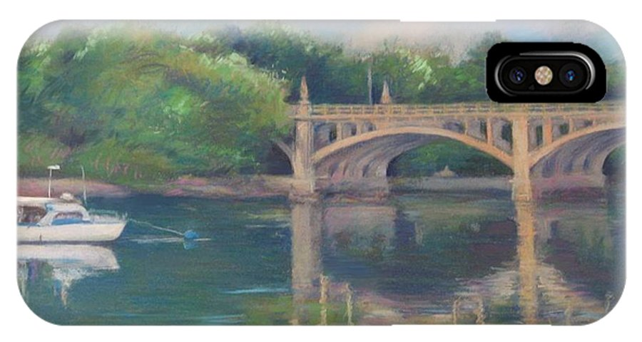 Mcgrath IPhone X Case featuring the painting Basiliere Bridge Haverhill Ma by Leslie Alfred McGrath