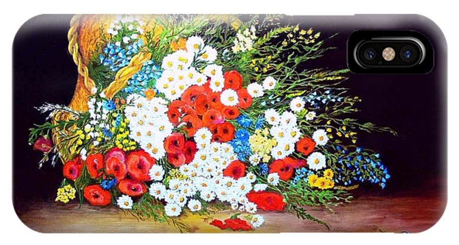 Summer IPhone X / XS Case featuring the painting Basket With Summer Flowers by Helmut Rottler