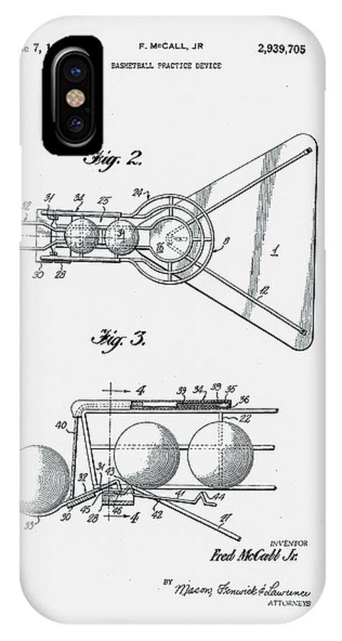 Basketball IPhone X Case featuring the photograph Basketball Practice Device Patent 1960 Part 2 by Claire Doherty