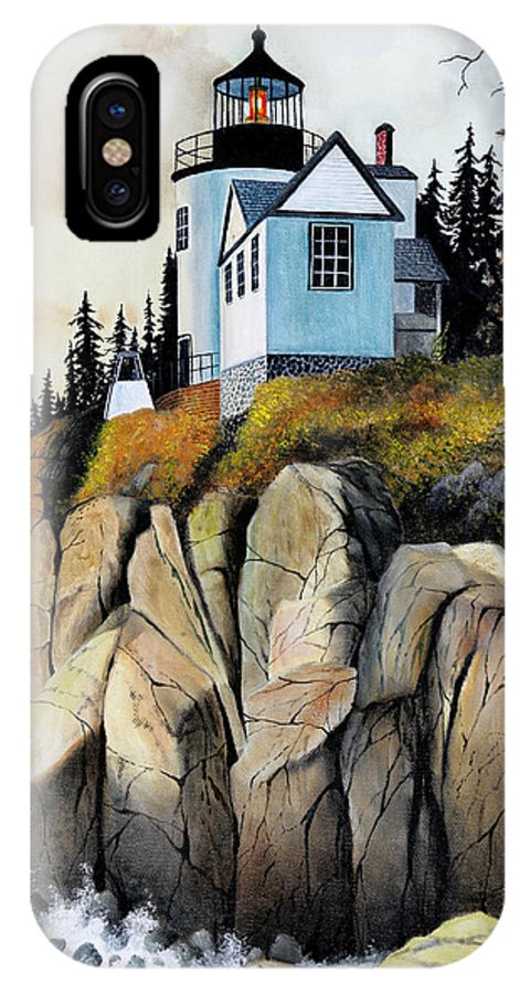 Lighthouse IPhone X Case featuring the painting Bass Light by Don Griffiths