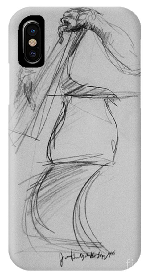 Bass IPhone X Case featuring the drawing Bass Man by Jamey Balester