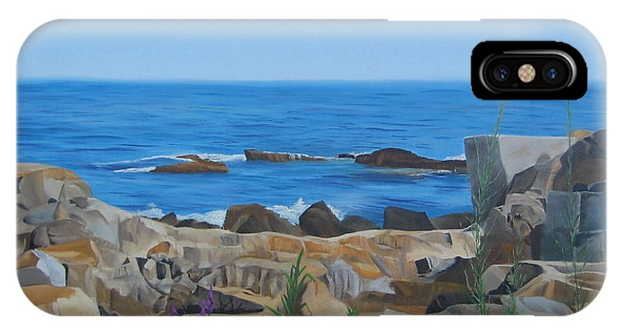 Seascape IPhone X Case featuring the painting Bass Rocks Gloucester by Lea Novak