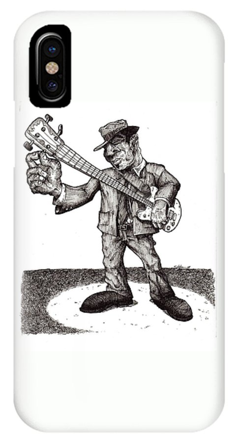 Blues IPhone X Case featuring the drawing Bass by Tobey Anderson