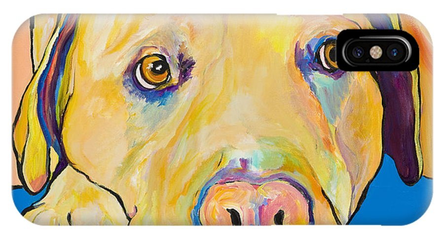 Dog Paintings Yellow Lab Puppy Colorful Animals Pets IPhone Case featuring the painting Bath Time by Pat Saunders-White