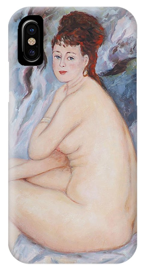 Portrait IPhone X Case featuring the painting Bather My Reproduction Of Renoirs Work by Ekaterina Mortensen