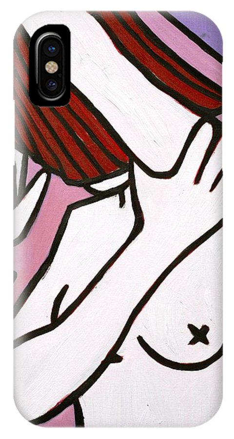 Nude IPhone X Case featuring the painting Bather by Thomas Valentine