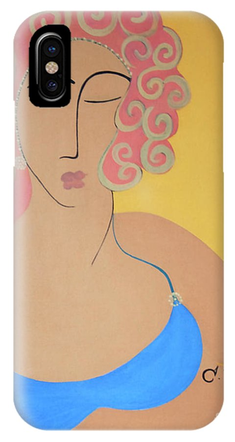 #female IPhone X Case featuring the painting Bathing Beauty by Jacquelinemari