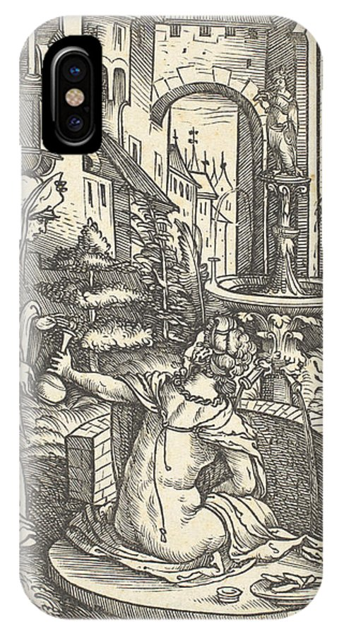IPhone X Case featuring the drawing Bathsheba At Her Bath by Hans Burgkmair I