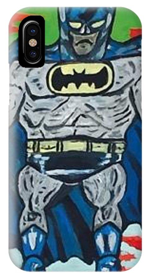 Batman IPhone X Case featuring the painting Batman by Jonathon Hansen