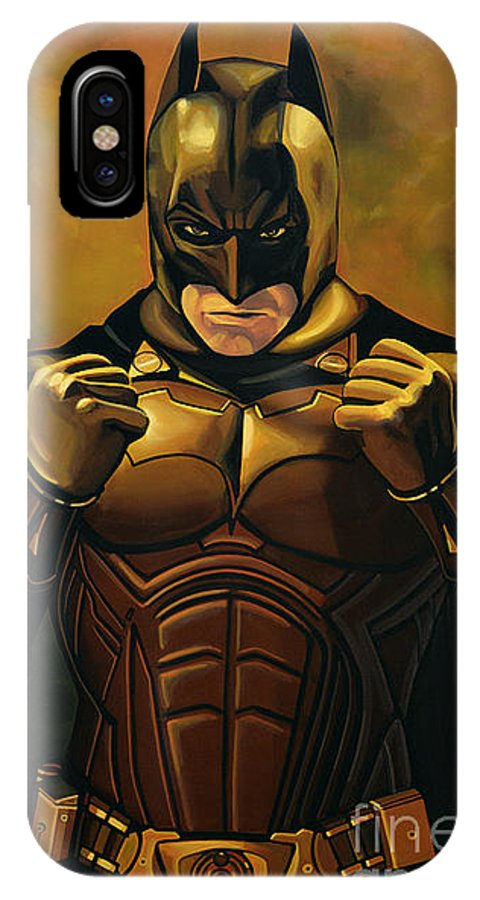 Batman IPhone X Case featuring the painting Batman The Dark Knight by Paul Meijering