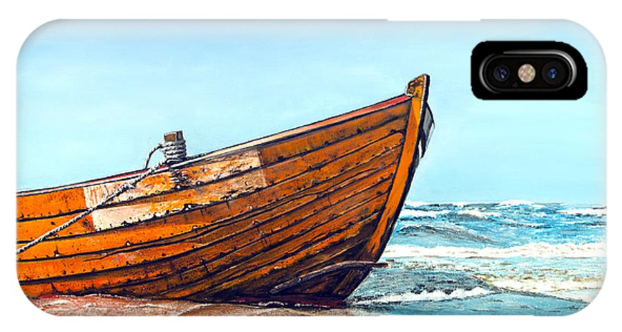 Sea IPhone X Case featuring the painting Battered By The Sea by Neeraj Pal