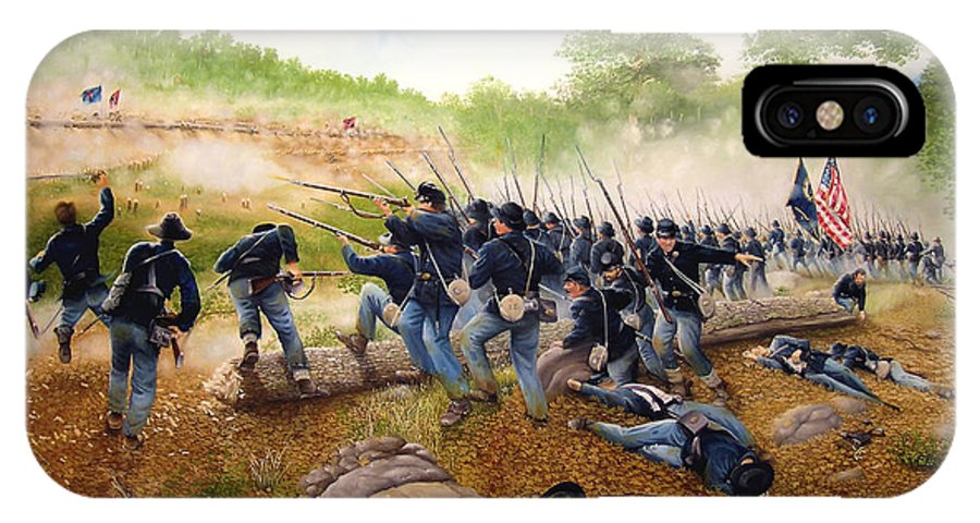 Civil War IPhone X / XS Case featuring the painting Battle Of Utoy Creek by Marc Stewart