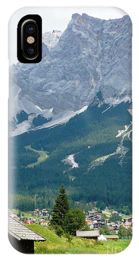 Mountains IPhone X Case featuring the photograph Bavarian Alps With Shed by Carol Groenen