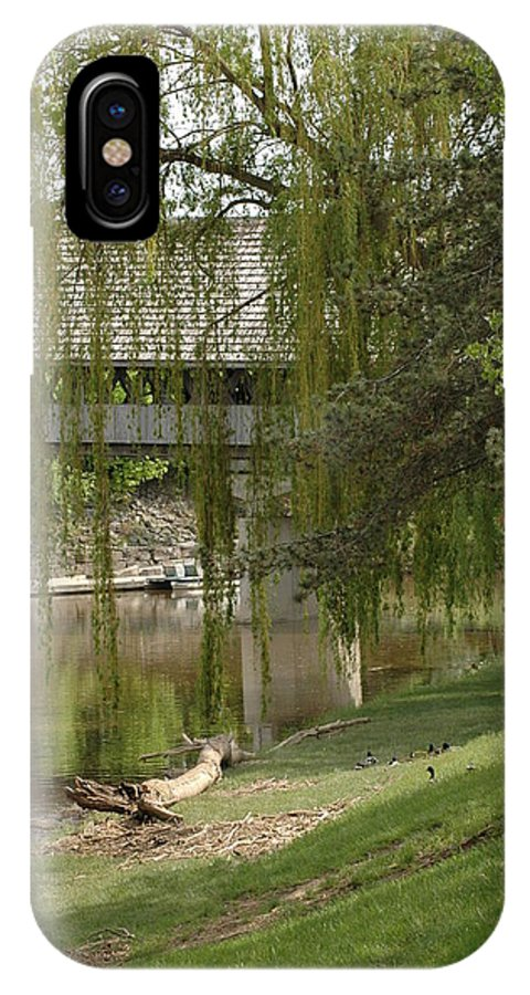 Usa IPhone X Case featuring the photograph Bavarian Covered Bridge Over The Cass River Frankenmuthmichigan by LeeAnn McLaneGoetz McLaneGoetzStudioLLCcom
