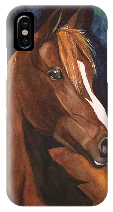 Horse IPhone X Case featuring the painting Bay on Blue 2 by Jean Blackmer