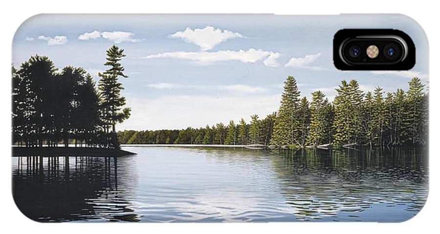 Landscapes IPhone X Case featuring the painting Bay On Lake Muskoka by Kenneth M Kirsch