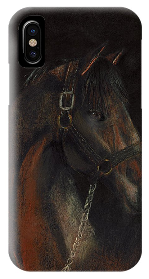 Horse IPhone Case featuring the pastel Bay Thoroughbred by Arline Wagner