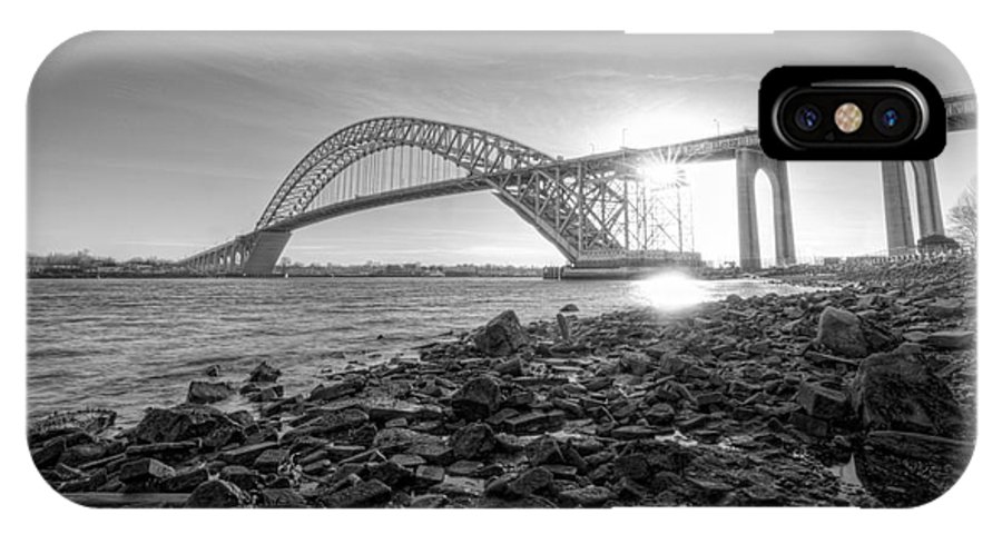 Black And White IPhone X Case featuring the photograph Bayonne Bridge Black And White by Michael Ver Sprill