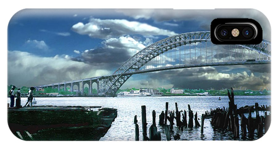 Seascape IPhone X Case featuring the photograph Bayonne Bridge by Steve Karol