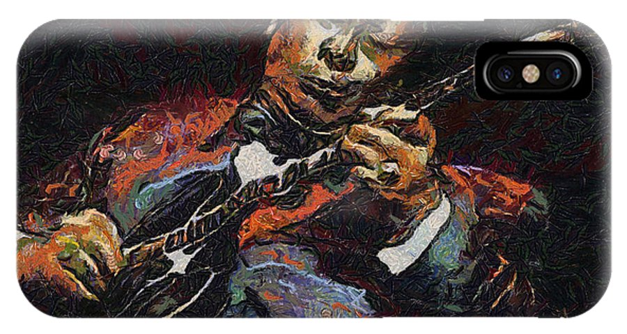 King IPhone X Case featuring the painting Bb King by Anthony Caruso
