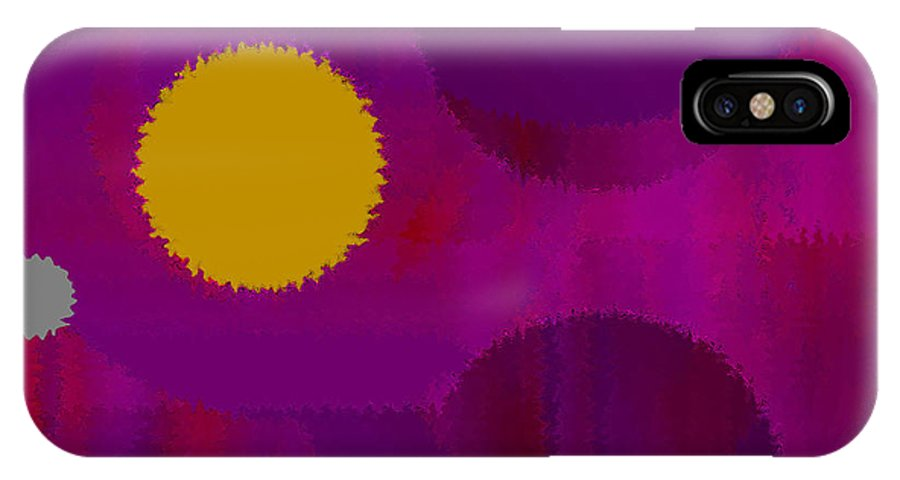 Abstract IPhone X Case featuring the digital art Be Happy by Ruth Palmer